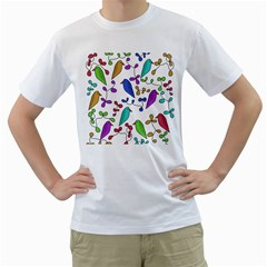 Birds and flowers Men s T-Shirt (White) (Two Sided)