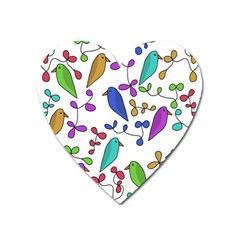 Birds and flowers Heart Magnet