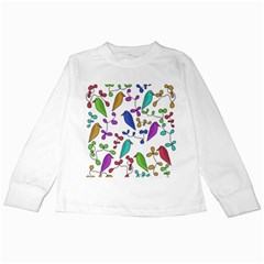Birds and flowers Kids Long Sleeve T-Shirts