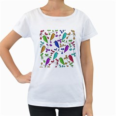 Birds and flowers Women s Loose-Fit T-Shirt (White)