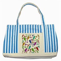 Birds and flowers Striped Blue Tote Bag