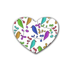 Birds and flowers Rubber Coaster (Heart)