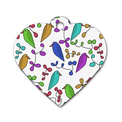 Birds and flowers Dog Tag Heart (Two Sides)