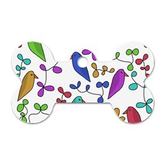 Birds and flowers Dog Tag Bone (Two Sides)