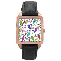 Birds and flowers Rose Gold Leather Watch