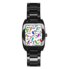 Birds and flowers Stainless Steel Barrel Watch