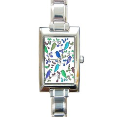 Birds and flowers - blue Rectangle Italian Charm Watch