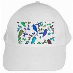 Birds and flowers - blue White Cap