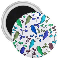 Birds and flowers - blue 3  Magnets