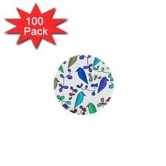 Birds and flowers - blue 1  Mini Buttons (100 pack)