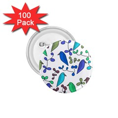Birds and flowers - blue 1.75  Buttons (100 pack)