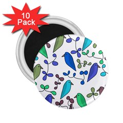 Birds and flowers - blue 2.25  Magnets (10 pack)