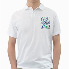 Birds and flowers - blue Golf Shirts