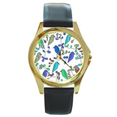 Birds and flowers - blue Round Gold Metal Watch