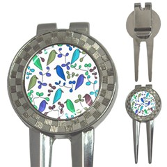 Birds and flowers - blue 3-in-1 Golf Divots