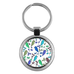 Birds and flowers - blue Key Chains (Round)