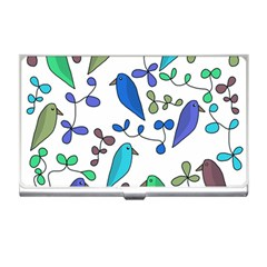 Birds and flowers - blue Business Card Holders
