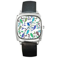 Birds and flowers - blue Square Metal Watch