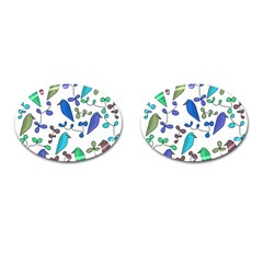 Birds and flowers - blue Cufflinks (Oval)