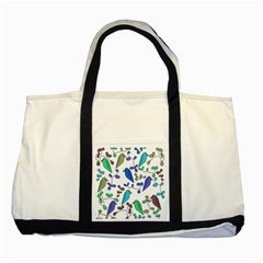 Birds and flowers - blue Two Tone Tote Bag
