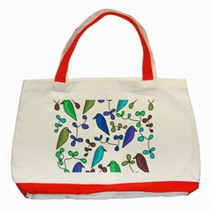 Birds and flowers - blue Classic Tote Bag (Red)