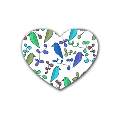 Birds and flowers - blue Rubber Coaster (Heart)