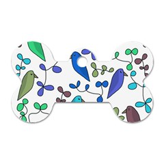 Birds and flowers - blue Dog Tag Bone (Two Sides)