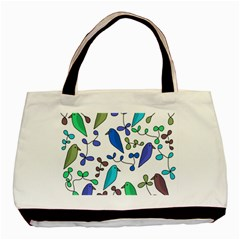 Birds and flowers - blue Basic Tote Bag (Two Sides)