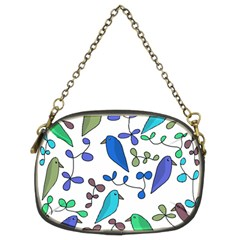 Birds and flowers - blue Chain Purses (Two Sides)