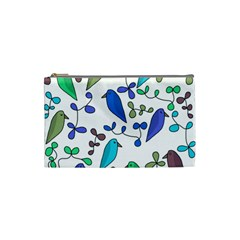 Birds and flowers - blue Cosmetic Bag (Small)