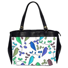 Birds and flowers - blue Office Handbags (2 Sides)