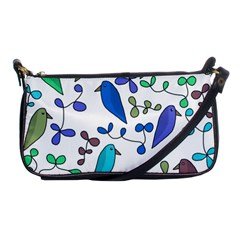 Birds and flowers - blue Shoulder Clutch Bags
