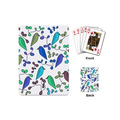 Birds and flowers - blue Playing Cards (Mini)