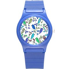 Birds and flowers - blue Round Plastic Sport Watch (S)