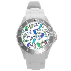 Birds and flowers - blue Round Plastic Sport Watch (L)
