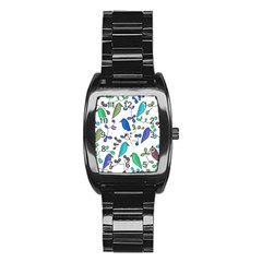 Birds and flowers - blue Stainless Steel Barrel Watch