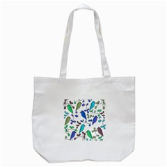 Birds and flowers - blue Tote Bag (White)