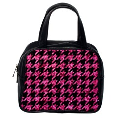 Houndstooth1 Black Marble & Pink Marble Classic Handbag (one Side)