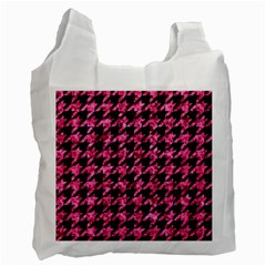 Houndstooth1 Black Marble & Pink Marble Recycle Bag (two Side)