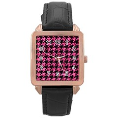 HTH1 BK-PK MARBLE Rose Gold Leather Watch