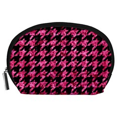 Houndstooth1 Black Marble & Pink Marble Accessory Pouch (large)