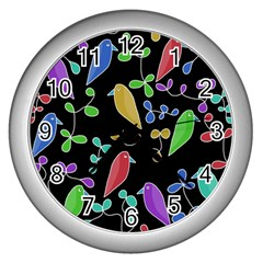 Birds and flowers 2 Wall Clocks (Silver)