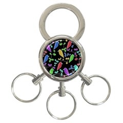 Birds and flowers 2 3-Ring Key Chains