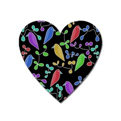 Birds and flowers 2 Heart Magnet