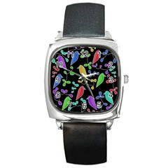 Birds and flowers 2 Square Metal Watch