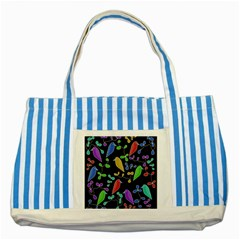 Birds and flowers 2 Striped Blue Tote Bag
