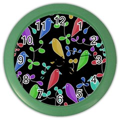 Birds and flowers 2 Color Wall Clocks