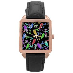 Birds and flowers 2 Rose Gold Leather Watch