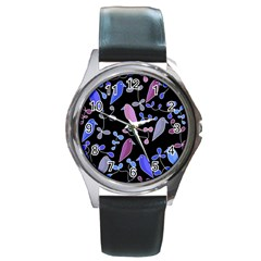 Flowers and birds - blue and purple Round Metal Watch