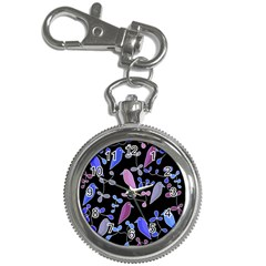 Flowers and birds - blue and purple Key Chain Watches